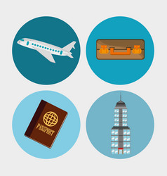 collection travel elements concept vector image vector image