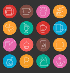 Colorful coffee thin line icons set vector