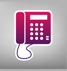 Communication or phone sign purple vector