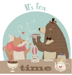 cute cartoon bear drinking tea vector image