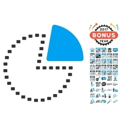 Dotted pie chart icon with 2017 year bonus vector