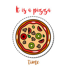 Fashion patch element pizza vector