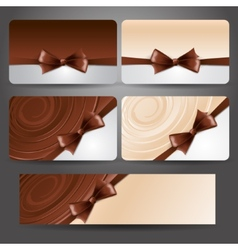 Gift card with chocolate bow and whirlpool vector image