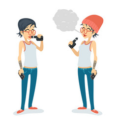 girl vape smoking female geek hipster casual vector image vector image