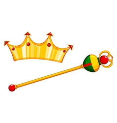 Golden mace and crown vector