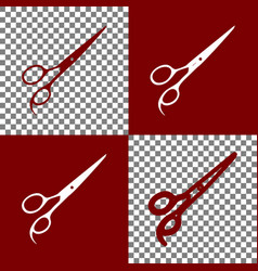Hair cutting scissors sign bordo and vector