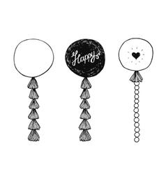 Hand drawn happy birthday balls vector image vector image