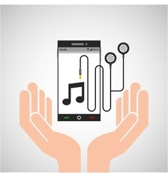 hand mobile phone earphone note vector image vector image