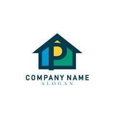 Home letter p design vector
