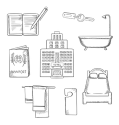 Hotel service concept sketch design icons vector image