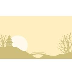 Landscape pavilion at sunrise of silhouettes vector