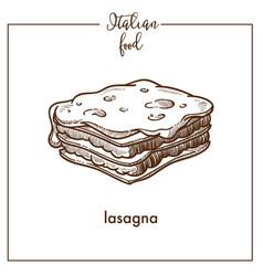 Lasagna pasta sketch icon for italian vector