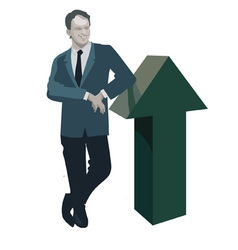 Man standing leaning on the up arrow vector