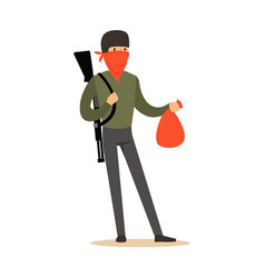 Masked robber with rifle on his shoulder carrying vector