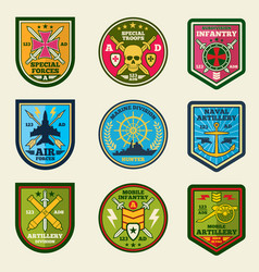 Military patches set army forces emblems vector
