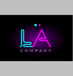Neon lights alphabet la l a letter logo icon vector