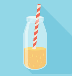 orange juice in a bottle icon flat icon with long vector image vector image