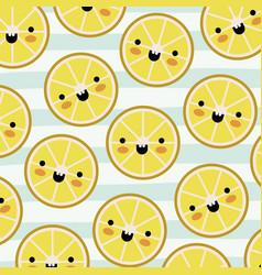 orange slices kawaii fruits pattern set on vector image