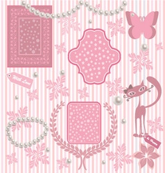 Romantic card with pink elements vector image vector image