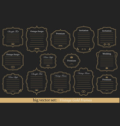 Set of vintage gold frames vector