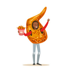 Smiling man wearing fried chicken wing costume vector
