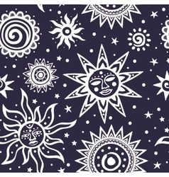 Tribal ornamental sun seamless pattern Can be vector image vector image