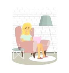 Young woman relaxing on armchair and browsing vector image vector image