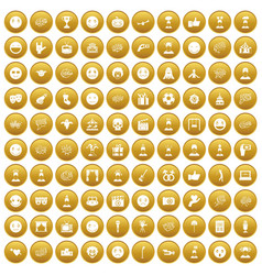 100 emotion icons set gold vector