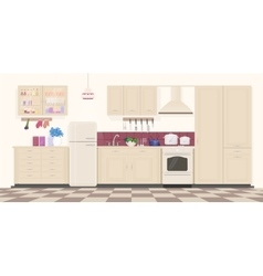 Modern classic vintage kitchen interior with vector