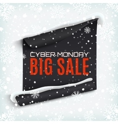 Cyber monday sale curved paper banner on winter vector