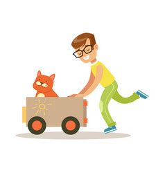 Happy boy playing toy car with his red cat inside vector