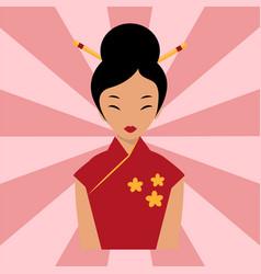Japanese woman folk-art maiden cute kokeshi vector