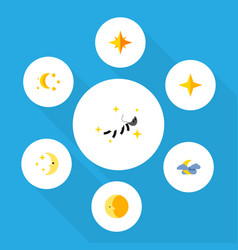 Flat icon night set of bedtime star asterisk and vector