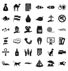 Domestic cat icons set simple style vector