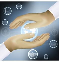 Hands holding world business concept vector