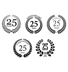Anniversary jubilee laurel wreaths set vector