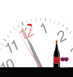 clock and bottle wine for new year vector image