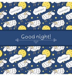 Seamless pattern with images cute sheep on vector