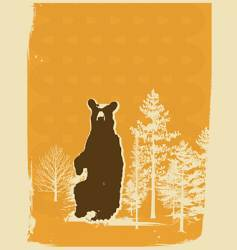 bear screen print style illustration vector image
