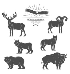 Large animals in north america vector