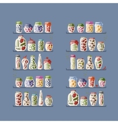 Shelves with pickle jars for your design vector image