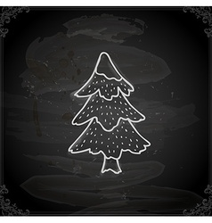 Hand drawn christmas tree vector