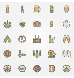 Beer colorful icons set vector