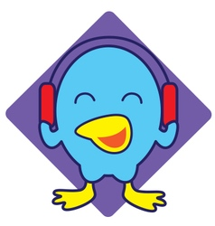 Bird listening music vector