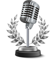 Gold microphone award vector