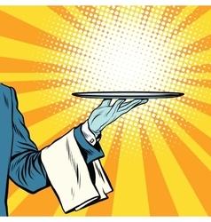 Waiter hand tray presentation vector