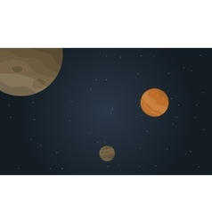 Art of space with planet landscape vector