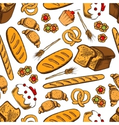 Bakery and patisserie seamless background vector