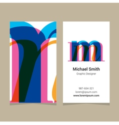 business card letter M vector image