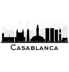 Casablanca City skyline black and white silhouette vector image vector image